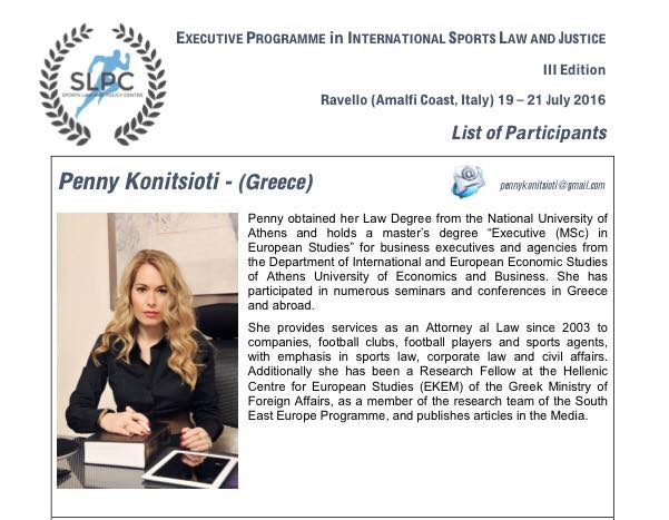 Participation to the Executive Programme in International Sports Law and Justice in Ravello (Amalfi Coast)